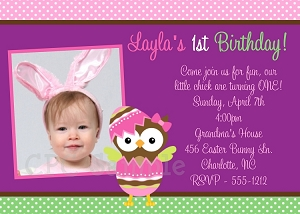 1st Birthday Easter Invitations with Photo