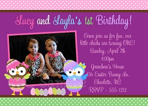Easter Owl Birthday Invitation for Twins with Photo