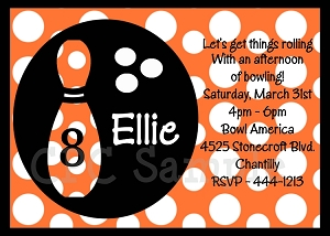 Orange Polka Dot Bowling Birthday Invitations
