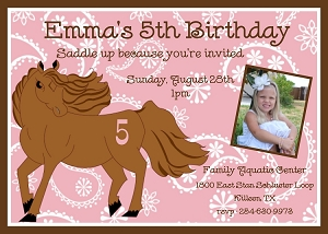 Equestrian Horse Birthday Party Invitations, Printable or Printed