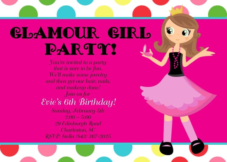 Glamour Girl Birthday Party Invitations Sleepover