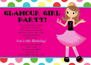 Glamour Girl Birthday Party Invitations | Sleepover Invitations - Printable or Printed