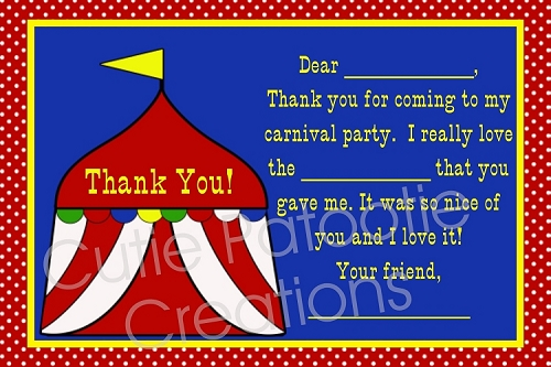 Circus Carnival Thank You Cards