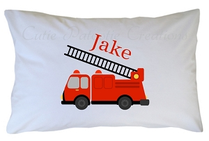 Personalized Fire Truck Pillow Case for Kids, Adults and Toddler