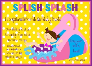 Pool Party Invitation - Yellow and Pink