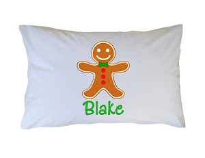 Personalized Gingerbread Boy Pillow Case for Kids, Adults and Toddler