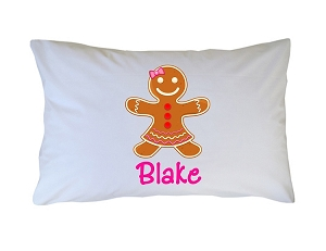 Personalized Gingerbread Girl Pillow Case for Kids, Adults and Toddler
