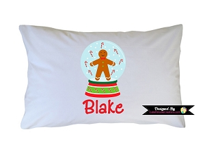 Personalized Gingerbread Snowglobe Pillow Case for Kids, Adults and Toddler