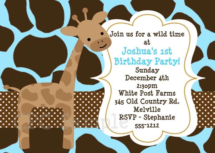giraffe birthday party invitations