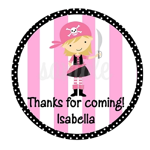 Personalized Pink Pirate Girl Stickers