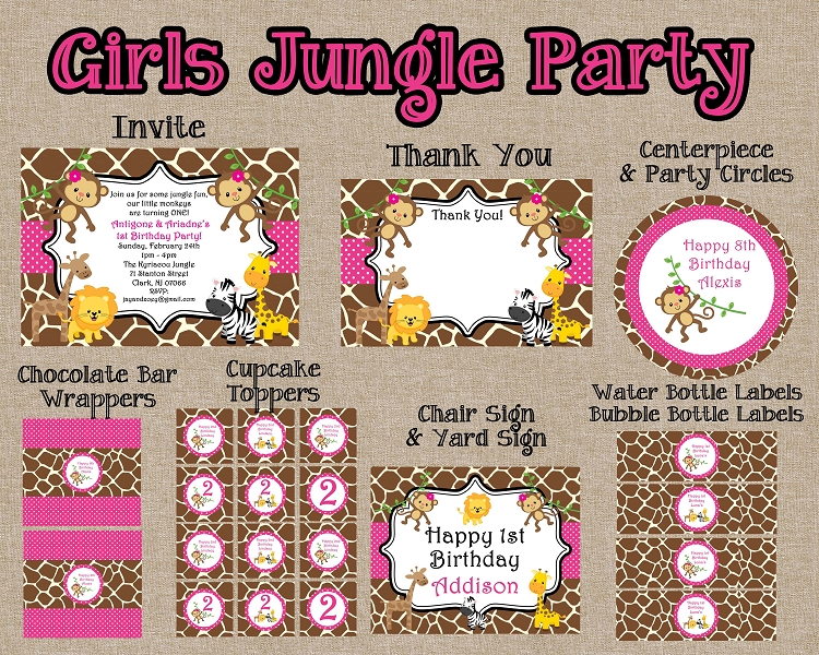 Girls Pink Jungle Birthday Invitations And Party Decorations