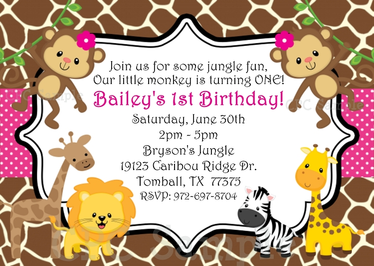 Jungle Birthday Party Invitation Girl