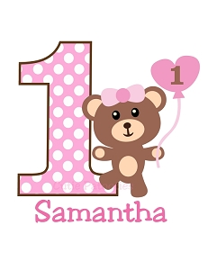 Personalized Pink Teddybear Birthday T-Shirt or Bodysuit