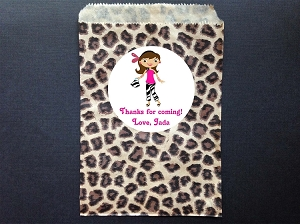 Glamour Girl Leopard Party Favor Bags and Personalized Stickers