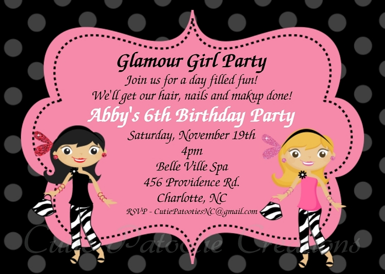 glamour girl birthday party invitations printable or printed