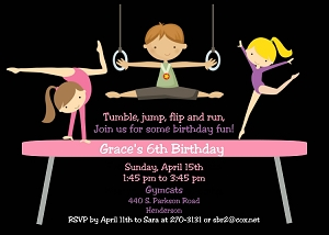 Gymnastics Birthday Party Invitations for Boys and Girls - Printable or Printed