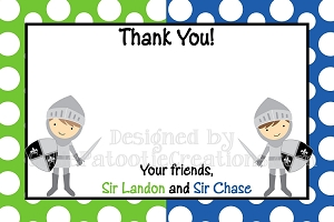 Knight Thank You Cards Twins Siblings