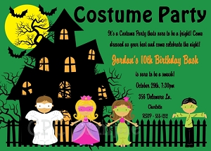 Costume Party Invitations for Kids, Twins or Siblings. Printable or Printed