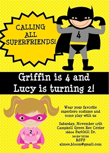 Twins or Siblings Boy Girl Superhero Birthday Invitations - Printable or Printed