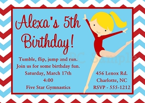 Girls Gymnastics Birthday Party Invitations or Invites- Printable or Printed