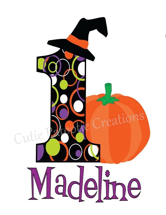 Personalized 1st First Birthday Halloween Pumpkin TShirt Or Onesie