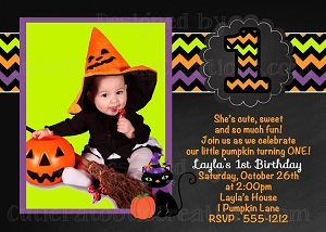 Chevron Chalkboard Halloween Party Invitations - Printable or Printed