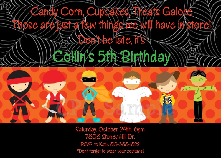costume party halloween party invitations printable or printed
