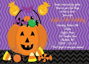 Pumpkin Birthday Invitations | Halloween Party Invitations - Printable or Printed