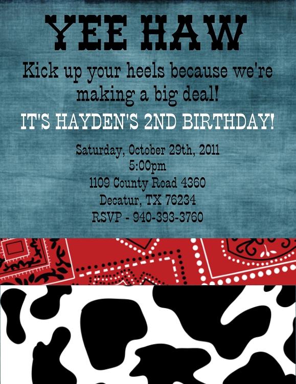 Fresh Cow Print Cowboy's Birthday Invitation | Western Birthday Party  WC91