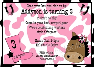 Pink Cow Print Horse Birthday Invitations, Printable or Printed