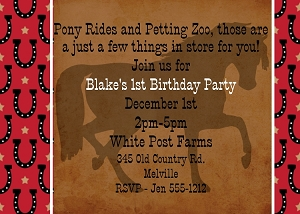 Cowboy Horse Birthday Invitations | Western Birthday Party Invitations - Printable or Printed