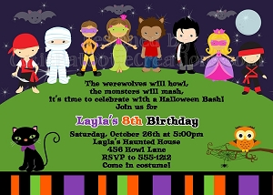 Trick or Treat Halloween Costume Party Invitations - Printable or Printed