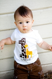 Personalized Giraffe Birthday Tshirt or Bodysuit