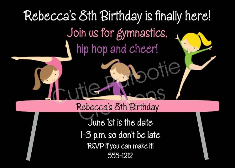 Gymnastics Party Invitation Birthday Invite Twins Siblings Printable Digital