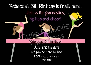 Twin Girls or Siblings Gymnastics Birthday Party Invitations - Printable or Printed