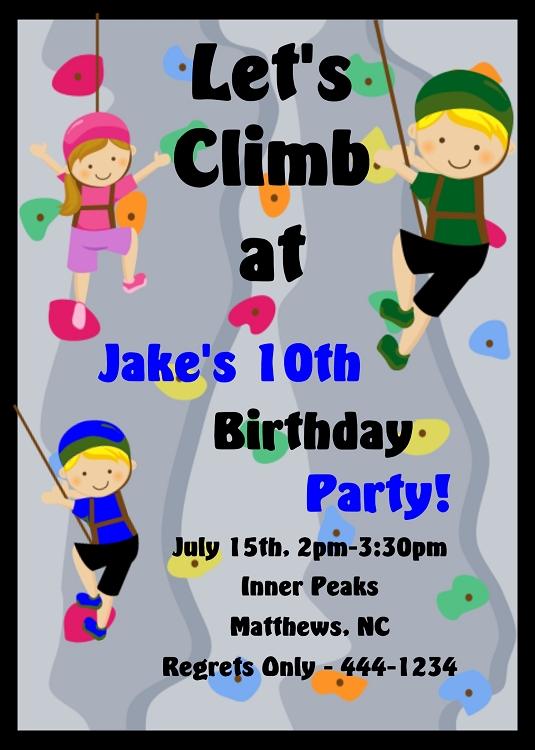 Rock Climbing Sports Birthday Invitations For Girls Or Boys