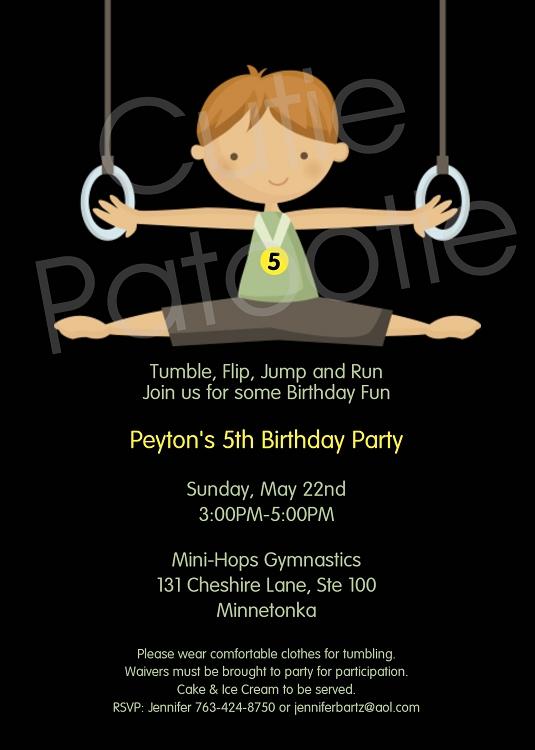boys gymnastics birthday party invitations or invites