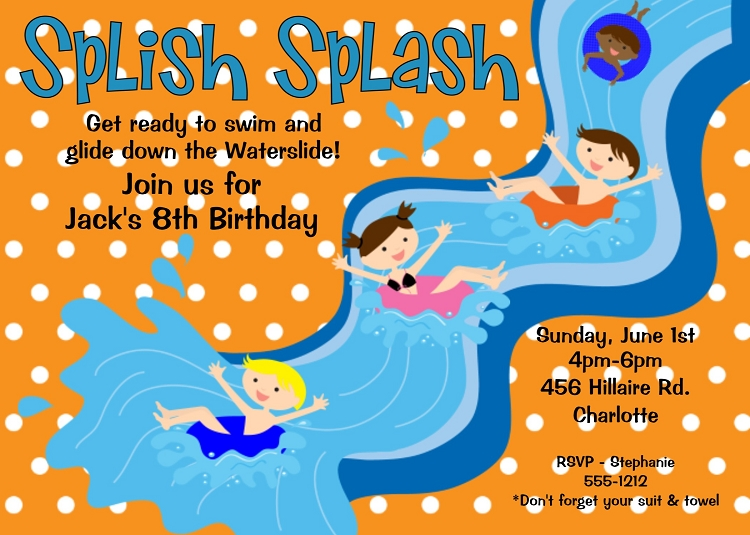 Slip And Slide Pool Party Birthday Invitation