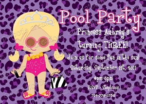 Purple Leopard Pool Party Invitations