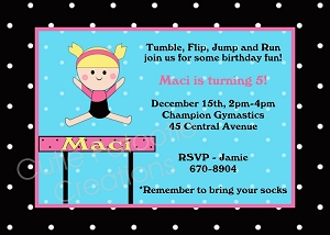 Girls Gymnastics Birthday Party Invitations or Invites - Printable or Printed