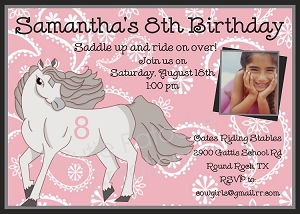 Stallion Horse Birthday Party Invitations