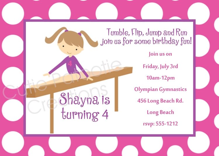 Girls Gymnastics Birthday Party Invitations