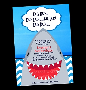 Shark Birthday Party Invitations