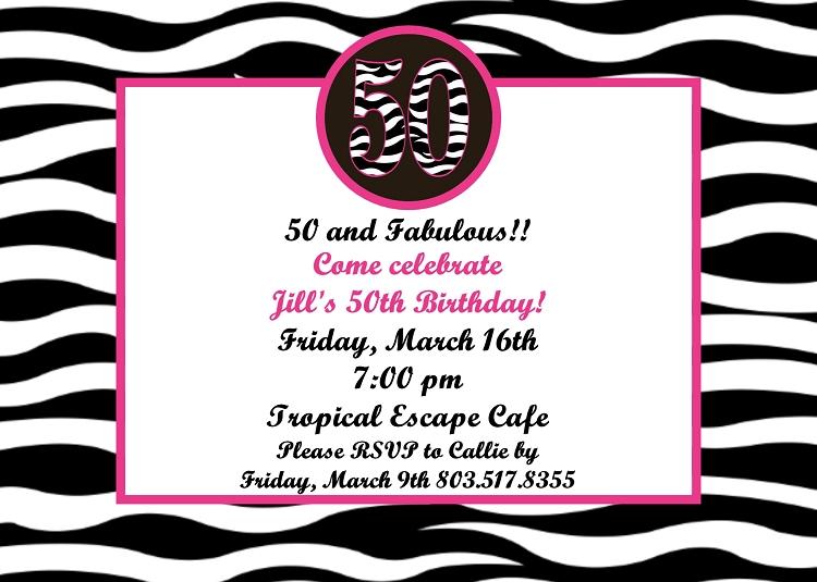 50th Birthday Party Invitations ANY AGE AVAILABLE