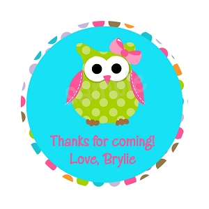 Personalized Owl Stickers, Pink and Green