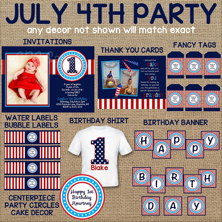 4th Of July 1st Birthday Invitations
