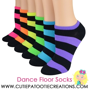 Dance Floor Party Socks for Bar and Bat Mitzvahs - Neon Stripes