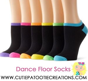 Dance Floor Party Socks for Bar and Bat Mitzvahs - Neon Colors with Black