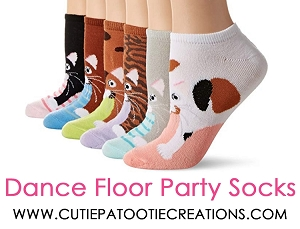 Dance Floor Party Socks for Mitzvahs, Weddings and Sweet 16 - Cat Theme