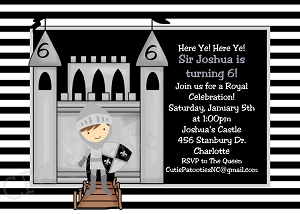 Knight and Castle Party Invitations - Printable or Printed